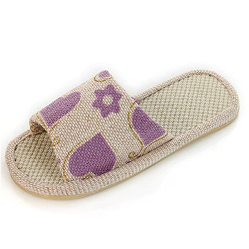 ALUK- Four Seasons Indoor Anti - Slip Couple Soft Bottom Linen Home Pantoufles ( couleur : Violet , taille : 25 (for 37-38 Yards) ) Violet