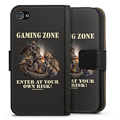 Apple iPhone X Silikon Hülle Case Schutzhülle Gaming Zone Game Sprüche Sideflip Tasche schwarz