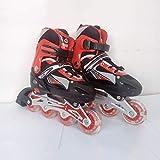 Skates 3In1 Roller Blades Inline Quad Taille Réglable pour Enfants Enfants Pro Combo Multi Glace Bottes Chaussures,Red,L