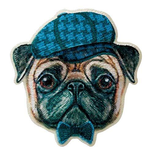 Aufnäher/Bügelbild - Hund Mops Gesicht Hut - bunt - 5,7x5,1cm - Patch Aufbügler Applikationen zum aufbügeln Applikation Patches Flicken