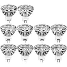 AGOTD 10 x 3W GU4 MR11 Bombilla LED Lámpara 12V, Mini Spot luz, 35 mm de Diámetro,Reemplazo 20 W 25w 30w 35W Lámpara Halógeno, 12V DC AC, 38 Ángulo, 250LM, Blanco Frío 6000K