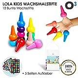 O³ Lola Kids Wachsmalstifte Kleinkinder ab 1 Jahr ungiftig // 12 bunte Wachsstifte // Ungiftig und CE-zertifiziert // Griffig für kleine Kinderhände // 5 Seiten Aufkleber gratis