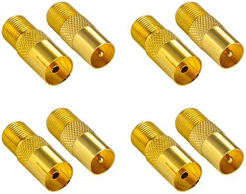 ter Koax Antenne (F-Buchse, 4X auf IEC Antennenstecker, 4X auf Antennenbuchse), Coax Kupplung für Koaxialkabel - Antennenkabel, vergoldet ()