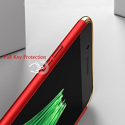 iPhone 6/6S Coque + Anneau de support de maintien de doigt, Étui antidérapant hybride 3 en 1, Ultra mince et léger Pleine Protection Housse, Slim-Fit Antichoc Bumper Case Cover - Rouge Argent