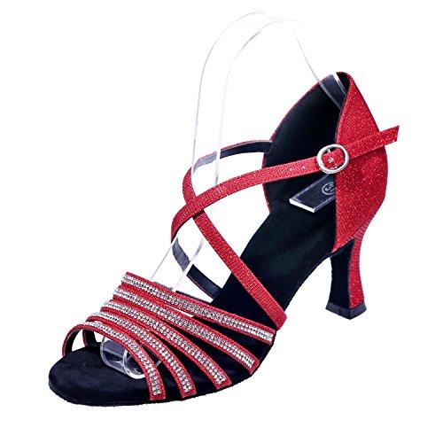 L@YC Scarpe Da Ballo Di Donne Sandali Di Seta Latino alto Tacchi alti Camera Fine Con 7,5 / Grandi Cortili Red