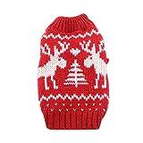 Deggodech Cucciolo di Cane Natale Maglia Maglione con Renna di Natale Design Vestiti Invernale per Natale Animale domestico Cane Gatto Maglieria Costume Caldo Inverno Cappotto Rosso & bianco (XL)