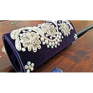 Clutch Violett ~ Handbestickt ~ Abendtasche Abendkleid Handtasche