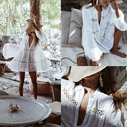 MZLJL Maxikleid, 2019 Frauen Bademode Bademode Hohle Crochet Vertuschung Kaftan Sarong Sommer-Kleid Anzug, weiß, M Crochet Detail Kleid