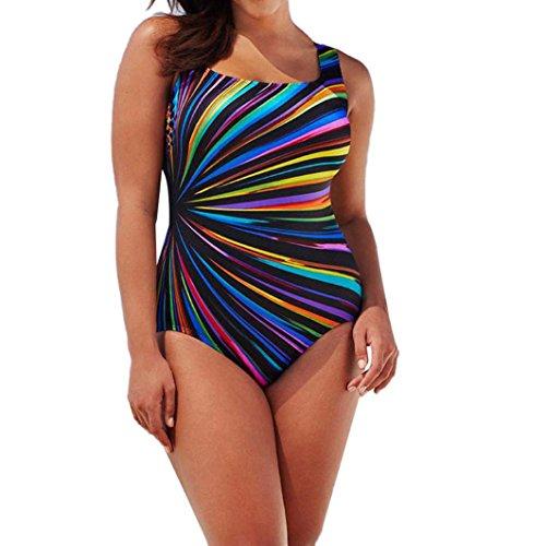 Damen Mehrfarbig Drucken Neckholder Tankini Badeanzug Hot Frauen Gepolstert Rückenfrei Monokini Bademode Regenbogen Bademode Swimwear (2XL, Mehrfarbig) (Neckholder-kleidung)