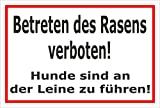 Melis Folienwerkstatt Schild - Betreten des Rasens Verboten - Hunde Sind an der Leine zu Führen – 45x30cm | Stabile 3mm Starke PVC Hartschaumplatte – S00216-006-B +++ in 15 Varianten erhältlich