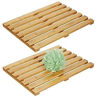 51QdLru063L. SS324  - mDesign Juego de 2 alfombras de bambú - Alfombrilla de baño Rectangular de bambú ecológico - Accesorio de baño y Ducha con estética de SPA - Color bambú