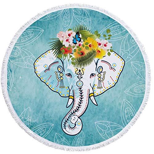 FELICIGG Toalla de Playa Elefante Redondo Microfibra Borla Franja Estera de Yoga Tapiz Absorbente de Agua Suave Aplicar a Deportes al Aire Libre (Color : A011)