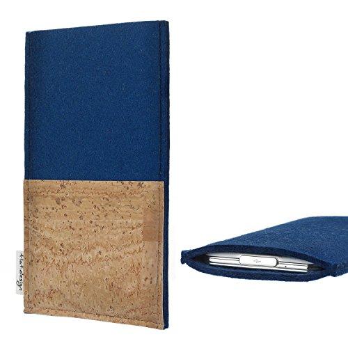 flat.design Tablet Tasche Evora mit Korkfach für Blaupunkt Endeavour 1100 - Schutz Case Etui Filz Made in Germany in blau mit Korkstoff - passgenaue Tablethülle für Blaupunkt Endeavour 1100