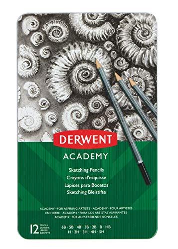 Derwent academy sketching confezione da 12 matite dalla 6b alla 5h in scatola di metallo, grigio