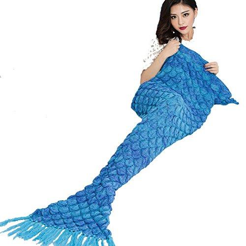 Strickhandmade Meerjungfrau Schwanz Decke Prinzessin Fleece / Handcrafted Wrap Blanket Fancy Dress Schlafsack für Mädchen oder Frauen 70 * 140cm (27.55 Zoll x55.11 Zoll) Blau ( größe : 90*180cm )