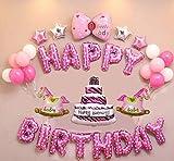 Geburtstag Buchstaben Luftballons Set, Geburtstagsdeko für Mädchen, Ballon und Luftpumpe,Happy Birthday Party Ballons,Bunte Ballons für Geburtstagsfeiern (Rosa Horse)