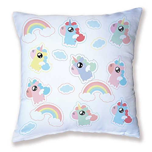 Coussin Licornes Arc-en-ciel / Rainbow unicorn kawaii, Pastel et chibi by Fluffy chamalow - Fabriqué en France - Chamalow Shop