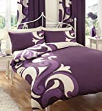 SUPER KING SIZE - BERRY & CREAM PRINTED DUVET COVER BED SET