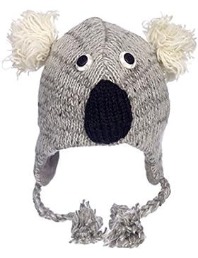 Divertido Gris Koala Gorro De Lana De Invierno Hecho A Mano Con Diseño De Animal con forro polar, UNISEX