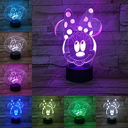 Cartoon Mickey Mouse 3D Lampe 7 Farben Ändern Nachtlicht 5 V USB Tischlampe Nachtstimmung Licht für Kinder Lava Lampe Drop Shipping