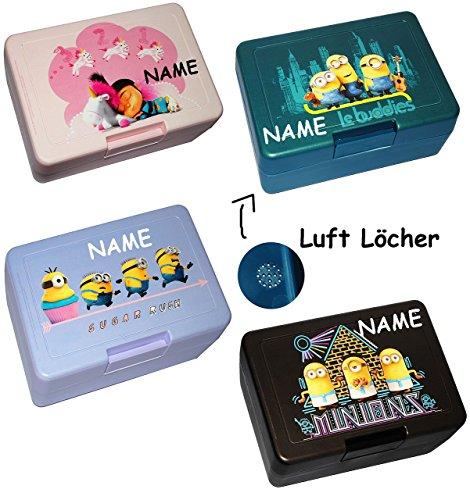 Unbekannt Lunchbox / Brotdose - Minions - incl. Name - Brotbüchse Küche Essen -  Ich einfach unverbesserlich  - mit Luftlöcher - für Mädchen - Minion Stuart Tom Steve..