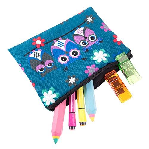 Kukubird Tre Gufi Su Un Ramo Primavera/estate Design Stampa Cerniera Semplice Make-up Bag Matita Caso Three Owls Blue