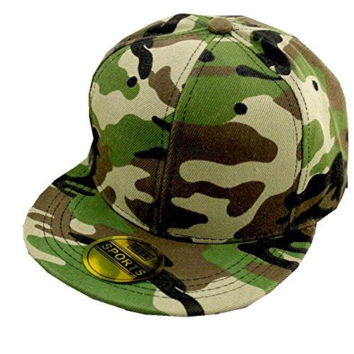 Kids Flex-fit Cap (Frimateland, modische Schirmmütze im Militär-Look, Camouflage, grün)