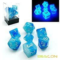 Bescon Polygonal Würfel Spielwürfel Gemini Two-Tone Leuchten D&D Dice Set ICY ROCKS, Helle RPG - Rollenspiel Polyedrische Dice 7pcs Set d4 d6 d8 d10 d12 d20 d%, Brick Box Packaging