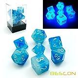 Bescon Dice, set di 7 dadi poliedrici che si illuminano al buio, in...
