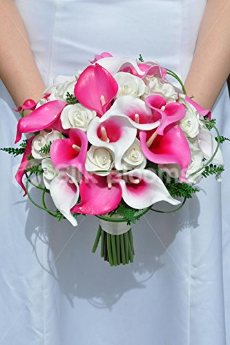 Vibrant White Fresh Touch Rose And Hot Pink Vermeer Calla Lily