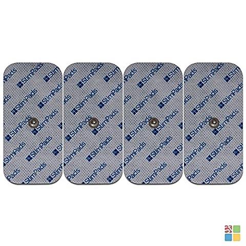 StimPads® für Compex®, 4 Stück à 50x100mm, garantiert 100% mit Compex® kompatibel, leistungsstarke und langlebige Elektroden mit EINEM Druckknopf! Sparen Sie 53% im Vergleich zum Original!