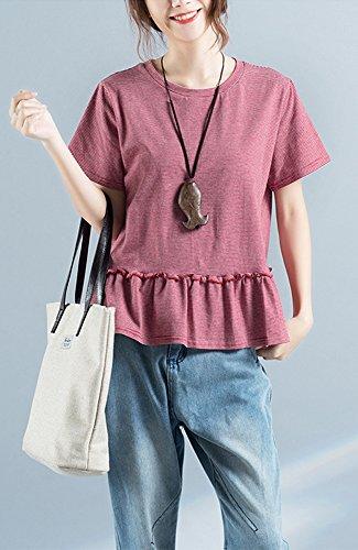 ONECHANCE Frauen 100% Baumwolle Sommer Kurzarm Rundhals Lässige Streifen Bluse Rot