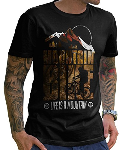 Stylotex Herren T-Shirt Basic Life is a mountain v1 , Farbe:schwarz;Größe:M (Mountain T-shirts Life)