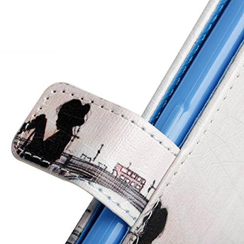 Samsung Galaxy S7 Hülle, SainCat Ledertasche Brieftasche im BookStyle PU Leder Muster Hülle Wallet Case Folio Schutzhülle Bumper Handytasche Backcover Handy Tasche Flip Cover Buchstil Klapptasche in L Soirée