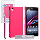 Yousave Accessories Hard Hybrid Cover mit Stylus Pen für Sony Xperia Z1–Hot Pink