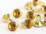 Swarovski Chaton-Nieten Elements SS29 (Topaz, Gold) - 4mm Schaft, 10 Stück