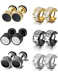 Aroncent Pendientes de Acero Inoxidable Hipoalergénico Retro Clásico Aretes de Aro Huggie Earrings Plugs Conjunto Joyería Cuerpo para Hombre Mujer Unisex 12PCS