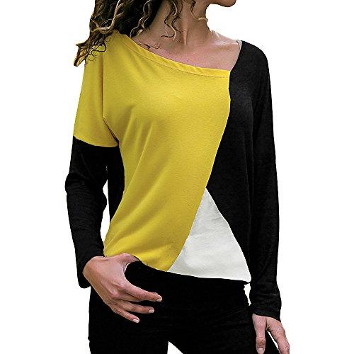 Blusen Damen Pullover Mode Frauen Casual Patchwork Farbblock Oansatz Langarm T-Shirt Bluse Top Oberteile Pulli Sweatshirt,ABsoar
