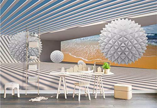 Fototapete 3D Tapeten Wandbilder Space Beach Ball Gebäude Benutzerdefinierte Größe Tapete