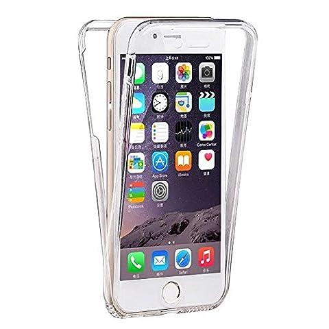 VCOMP® Coque Housse Silicone Gel TRANSPARENTE ultra mince 360° protection intégrale Avant et Arrière pour Apple iPhone 6/ 6s - TRANSPARENT