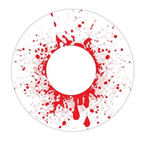 1 Paar farbige Crazy Fun Kontaktlinsen Motiv Bloodshot zu Karneval und Halloween mit Kontaktlinsenbehälter