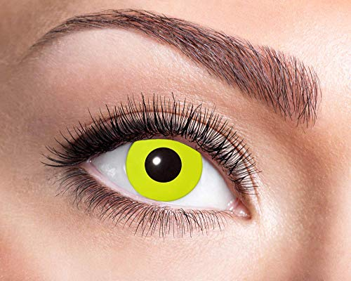 Kostüm Halloween Crow - Goldschmidt Kontaktlinsen Jahreslinsen mit Sehstärke Dioptrien Halloween Qualitätsprodukt (Yellow Crow Eye, -1,5)