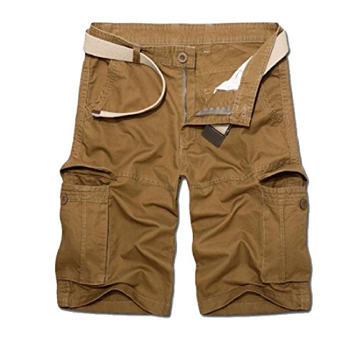 CuteRose Men's Oversize Pocket Regular Capri Classics Cotton Cargo Shorts Pants 29 Khaki -
