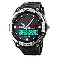 SKMEI Solar Power Dual Time Sports Military Watch Waterproof Wristwatch for Men and Women