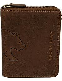 Brown Bear Geldbörse Leder vintage braun Reißverschluss BH 0652