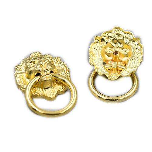 fujiyuan 5PCS Kommode Schrank Holz Schublade Ring DIY Vintage Lion Head Möbel 67mm x 40mm Tür ziehen Griff Knopf mit Schrauben gold (40mm Ring-pull)