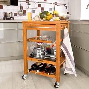 SoBuy Servierwagen aus hochwertigem Bambus,Küchenwagen,Küchenregal, FKW (B60xT45xH90cm FKW07-N)