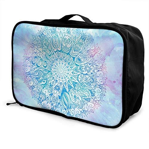 Qurbet Reisetaschen,Reisetasche, Travel Lightweight Waterproof Foldable Storage Carry Luggage Duffle Tote Bag - Geometric Mandala Pattern - Passport Travel Tote
