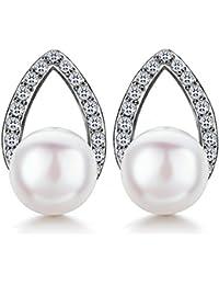 J.SHINE Damen Ohrringe Perlen Blatt Basic Ohrstecker 925 Sterling Silber Zirkonia 3A 6mm Natürliche Süßwasser Perle