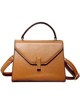 Damen PU Leder Handtasche Normallack Umhängetasche Mini Schultertasche Square Messenger Bag